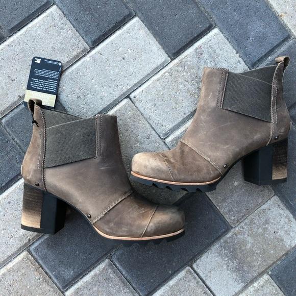 Sorel Womens Addington Chelsea Boots sizes 8 10 Quarry Black  Waterproof Suede